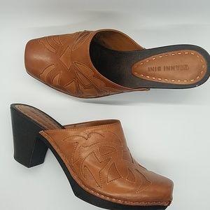 Gianni Bini Western Style Leather Mule Clog